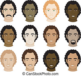 Curly afro hombres se enfrentan