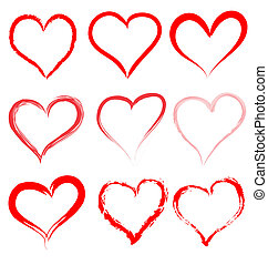 Día de San Valentín, vector de corazones rojos, corazón Valentine