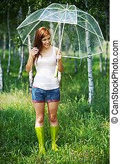 Día lluvioso de verano en el bosque