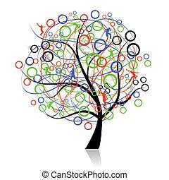 de conexión, pueblos, árbol, tela