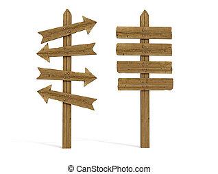 de madera, viejo, poste signo, dos