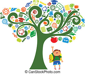 De vuelta a la escuela. Árbol con iconos educativos