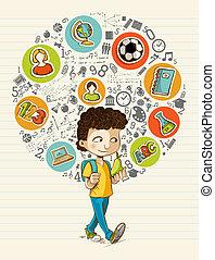 De vuelta a la escuela los iconos de los dibujos animados coloridos.
