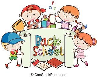 De vuelta a la pancarta escolar con niños