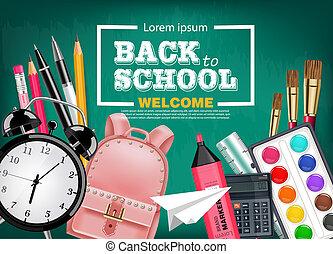 De vuelta a la tarjeta de la escuela con mochila, despertador, lápices y otras herramientas Vector realista. Trasfondo de la pizarra. Detalles 3D