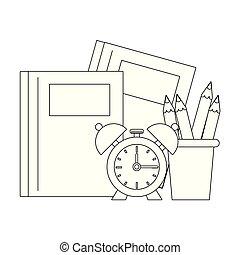 De vuelta a las caricaturas de utensilios escolares en blanco y negro
