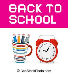 De vuelta al título de papel escolar con despertador, taza y lápices