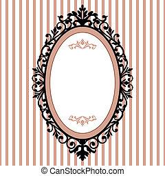 decorativo, marco oval, vendimia