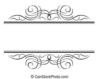 decorativo, ornamental, marco, viñeta, caligrafía, caligrafía