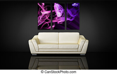 decorativo, sofá, lona, panel