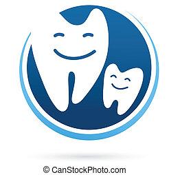 dental, -, clínica, vector, dientes, sonrisa, icono
