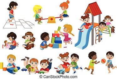 dentro, juego, niños, conjunto