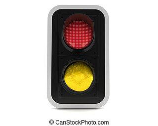 dentro, semáforo, limón, rojo