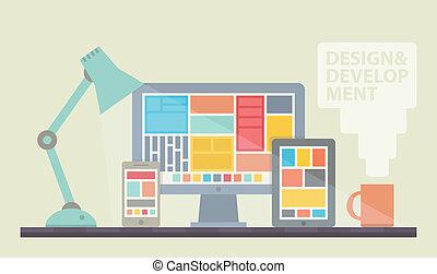 desarrollo, diseño telaraña, ilustración
