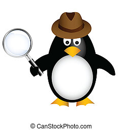 detective, aumentar, pingüino