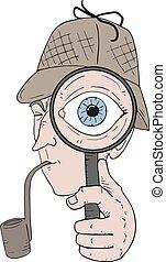 detective, grande, ojo, ilustración, buscando