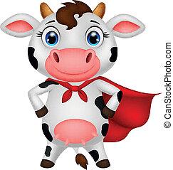 Dibujos de la vaca súper héroe posando