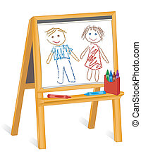 Dibujos infantiles, caballete de madera