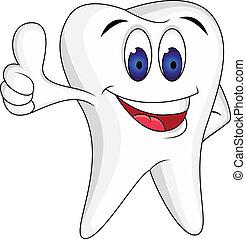 diente, arriba, pulgar