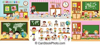 Diferentes escenas de aulas con niños