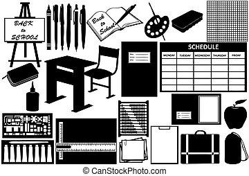 Diferentes objetos para la escuela