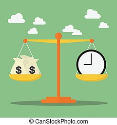 dinero, escala, balance, tiempo