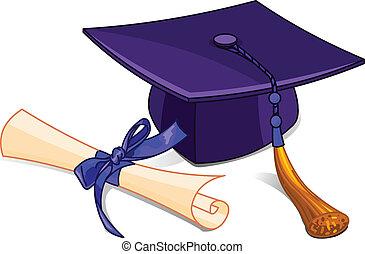diploma, gorra, graduación