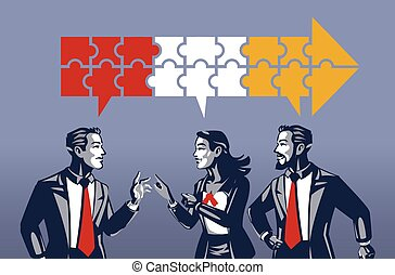 discusión, empresa / negocio, tres, teniendo, azul, gente, synchronous, cuello, concepto, ilustración