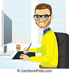 diseñador, gráfico, hipster, trabajando, hombre