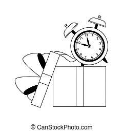 diseño, alarma, abierto, caja, regalo, plano, reloj