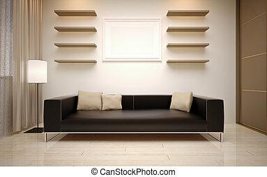 Diseño de interiores. Sala de estar moderna