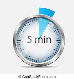 Diseño de relojes de plata 5 minutos. Ilustración de vectores