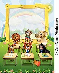 Diseño fronterizo con animales salvajes sentados en clase