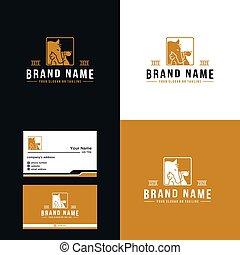 diseño, lujo, caballo, prima, vector, perro, logotipo, gato