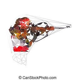 Disparo de Biatlón, baja ilustración de vectores aislados poligonales