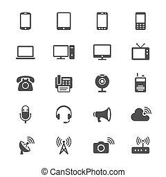 Dispositivo de comunicación iconos planos