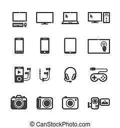 Dispositivos electrónicos iconos