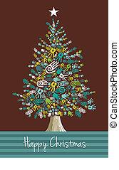 Diversidad de manos de árbol de Navidad
