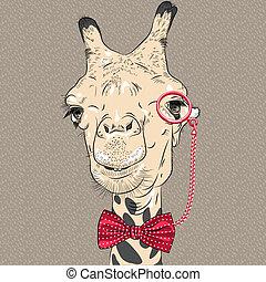 divertido, camello, vector, primer plano, retrato, hipster