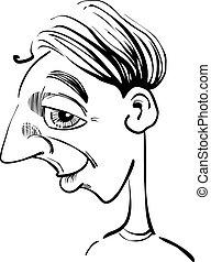 divertido, caricatura, hombre