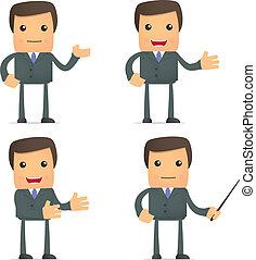 Divertido empresario de caricaturas haciendo presentación