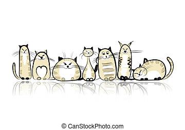 divertido, gatos, diseño, su, familia