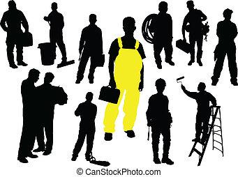 doce personas, silhouettes., trabajador