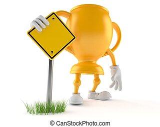 dorado, carácter, señal, camino, trofeo, blanco