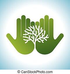 Eco amigable árbol en manos