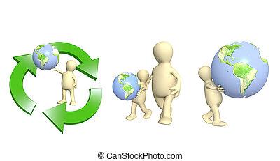 eco, concept., ecología, cuidado