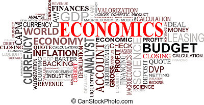 economía, nube, etiquetas