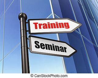 edificio, entrenamiento, señal, seminario, plano de fondo, educación, concept: