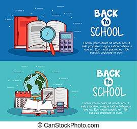 educación, escuela, banderas, espalda, iconos, suministros