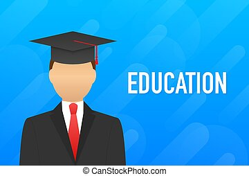 educación, website., héroe, illustration., educativo, process., vector, acción